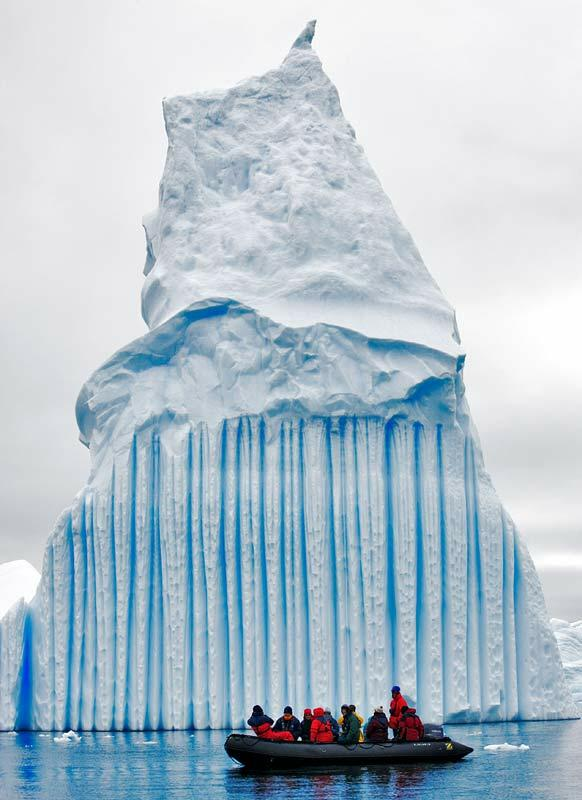 striped iceberg in Antarctica