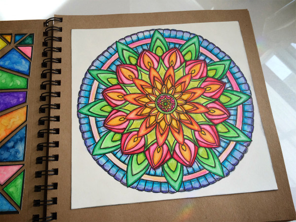 mandala with Tombow markers and Irojiten pencils