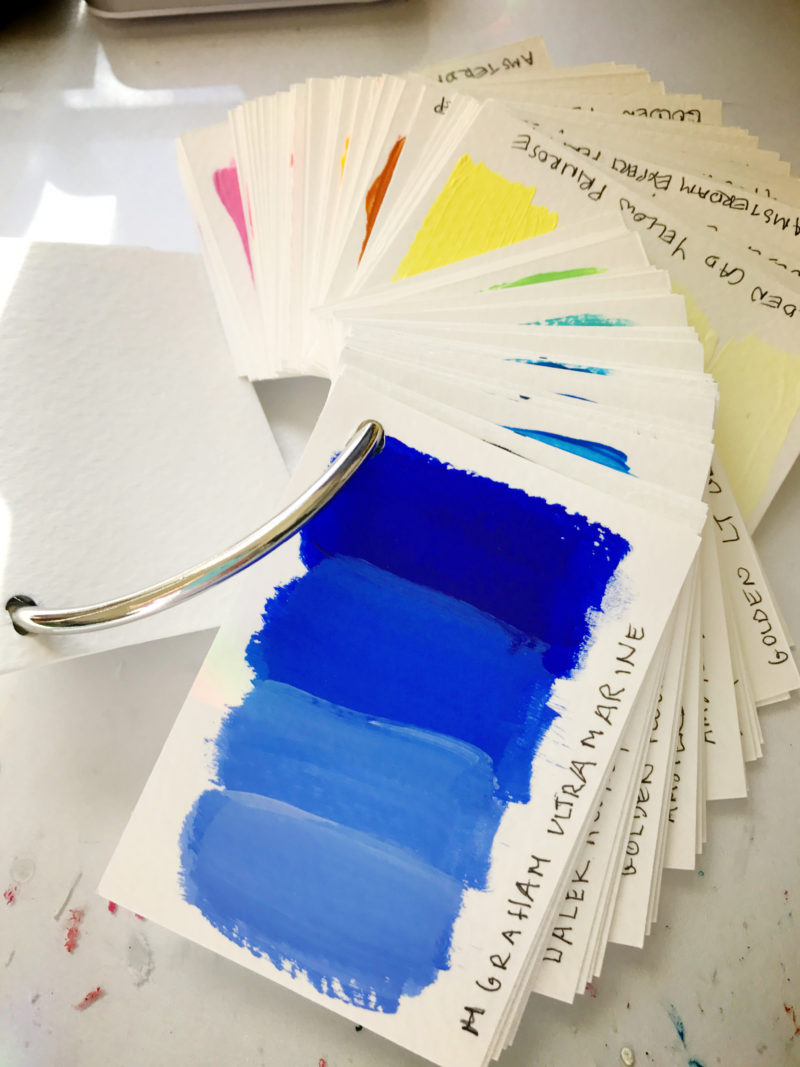"my own ""fandex"" (paint swatch book) of acrylic paint"